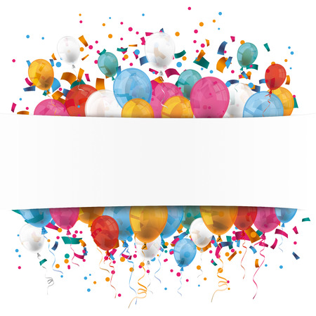 Illustration pour White paper banner, colored balloons and colored confetti.  Eps 10 vector file. - image libre de droit