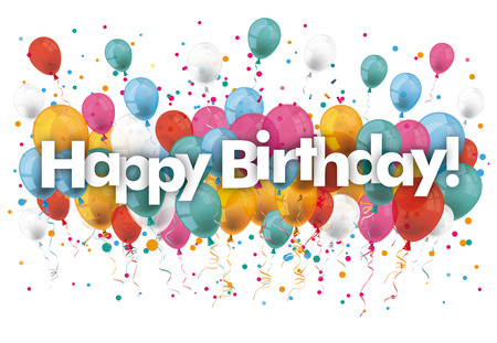 Illustration for Balloons with text Happy Birthday. vector file. - Royalty Free Image