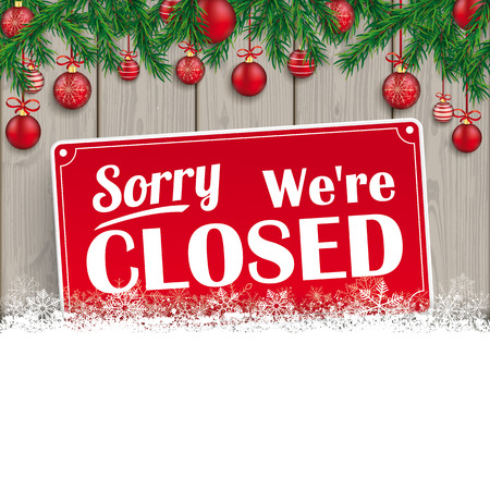 Illustration for We are closed sign for christmas. - Royalty Free Image