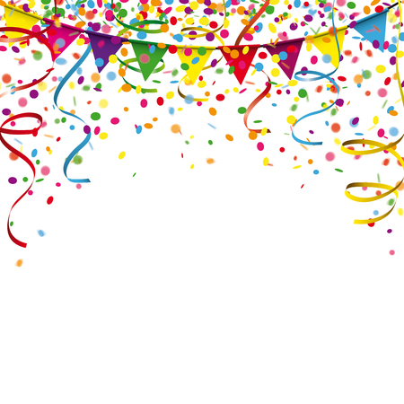 Illustration pour Colored confetti with ribbons and festoon on the white. Eps 10 vector file. - image libre de droit