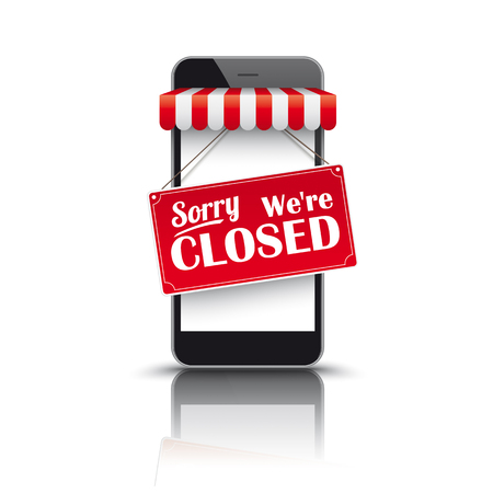 Illustration pour Black smartphone with red white awning and sign Sorry We're Closed. - image libre de droit