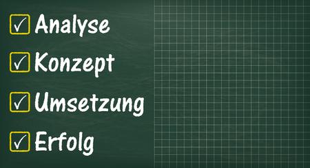 German text Analyse, Konzept, Loesung, Erfolg, translate Analysis, Concept, Solution, Succuss.