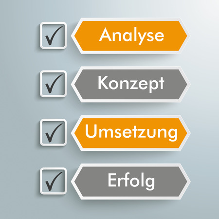 German text Analyse, Konzept, Umsetzung, Erfolg, translate Analysis, Concept, Realization, Success. Eps 10 vector file.