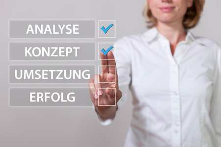 German text Analyse, Konzept, Umsetzung, Erfolg, translate Analysis, Concept, Realization, Success.