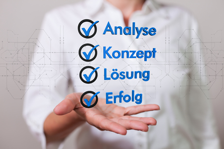German text Analyse, Konzept, Loesung, Erfolg, translate Analysis, Concept, Solution, Success.