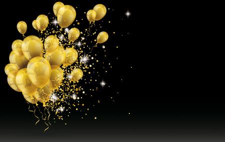 Ilustración de Golden balloons and golden particles on the black background. vector file. - Imagen libre de derechos