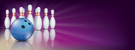 Ilustración de Purple bowling banner with pins and blue ball. - Imagen libre de derechos
