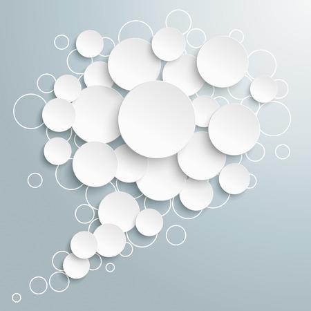Ilustración de White speech bubble circles on the gray background. - Imagen libre de derechos