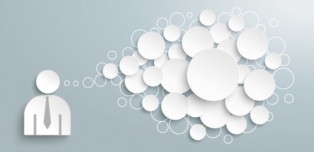 Ilustración de Businessman with abstract speech bubble on the gray background. - Imagen libre de derechos