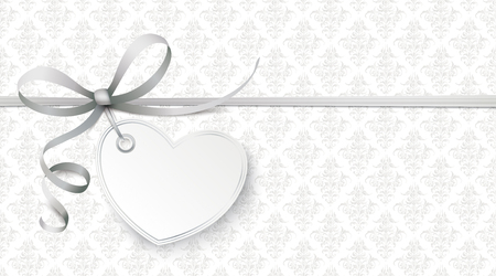 Illustration for Gray ribbon wallpaper with heart and ornaments. - Royalty Free Image