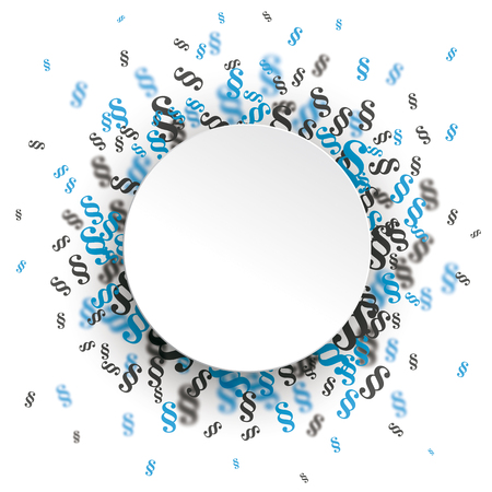 Ilustración de White paper circle with blue and gray paragraphs on the white background.  vector file. - Imagen libre de derechos