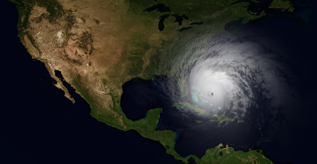Photo pour Extremely detailed and realistic high resolution illustration of a hurricane slamming into Florida. Shot from Space - image libre de droit