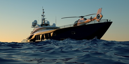 Foto de Extremely detailed and realistic high resolution 3D image of a luxury super yacht with a helicopter, a swimming pool and a jacuzzi - Imagen libre de derechos