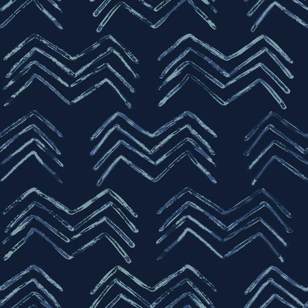 Ilustración de Indigo Tie Dye Batik Chevron Seamless   Pattern. Drawn Organic - Imagen libre de derechos