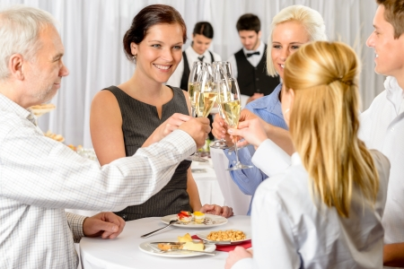 Photo for Business partners toast champagne company event celebration success - Royalty Free Image