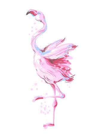 Ilustración de Beautiful dancing pink flamingo smiling isolated on white background with pink splash - Imagen libre de derechos