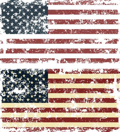 Illustration for Old scratched flag. Vector illustration of vintage USA flag - Royalty Free Image