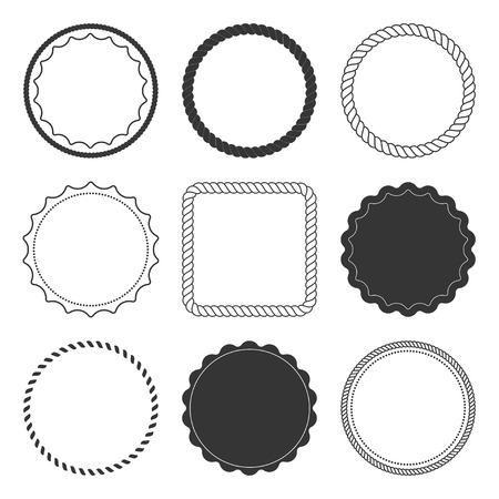 Illustration pour Set of 9 design summer elements, frames, borders isolated on white background - image libre de droit