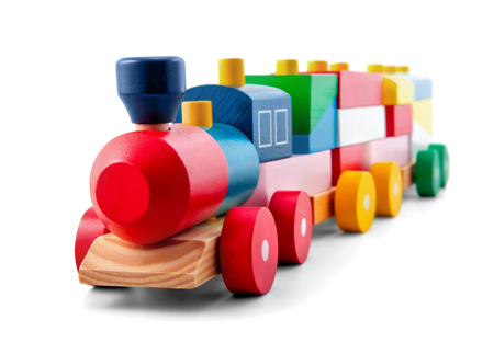 Foto per Wooden toy train with colorful blocs isolated over white - Immagine Royalty Free