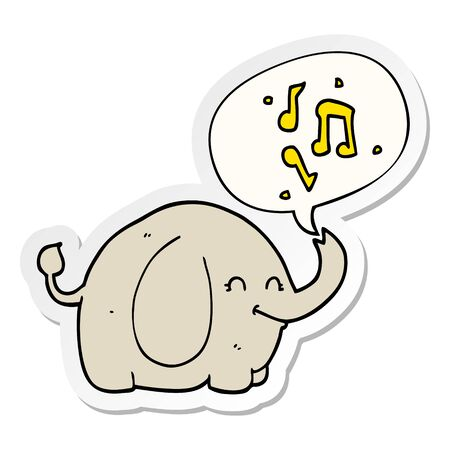 cartoon trumpeting elephant with speech bubble sticker