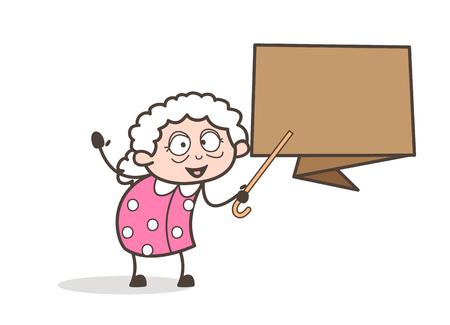 Foto de Cartoon Granny Showing Speech Banner Vector Illustration - Imagen libre de derechos