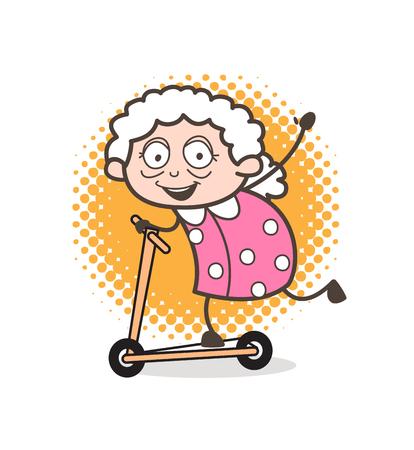 Foto de Cartoon Funny Granny Playing Skateboard Vector Illustration - Imagen libre de derechos