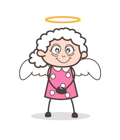 Foto de Cartoon Cute Granny Angel Vector Character - Imagen libre de derechos