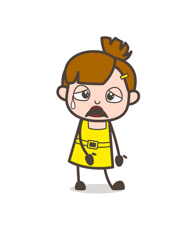 Illustration for Frustrated Face with Sweat on Face - Cute Cartoon Girl Vector - Royalty Free Image