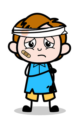 Illustration for Accidental Patient - School Boy Cartoon Character Vector Illustration - Royalty Free Image