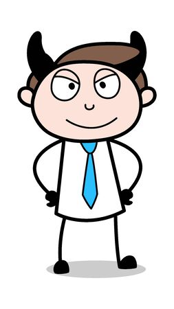 Illustrazione per Devil Smile - Office Businessman Employee Cartoon Vector Illustration - Immagini Royalty Free