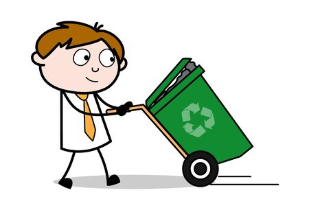 Illustrazione per Holding a Dustbin - Office Salesman Employee Cartoon Vector Illustration - Immagini Royalty Free