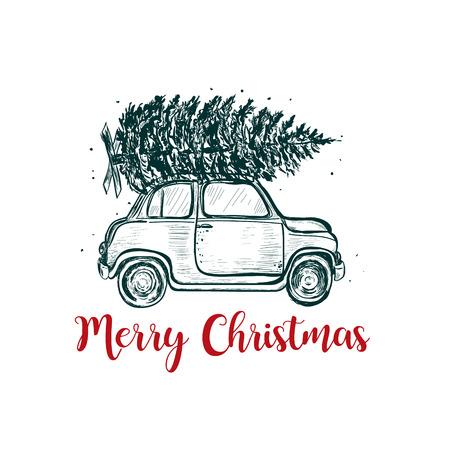 Illustration pour Merry Christmas greeting card. The car carries a fir on the roof. Christmas tree - image libre de droit