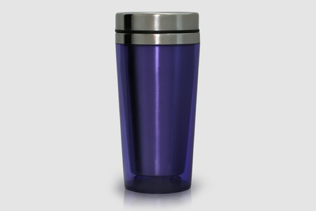 Photo pour Thermo mug made of stainless steel, purple, isolate on white - image libre de droit