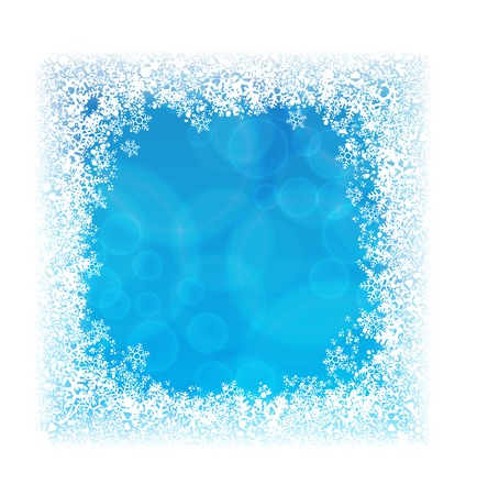 Illustration pour Abstract blue background in border of snowflakes - image libre de droit
