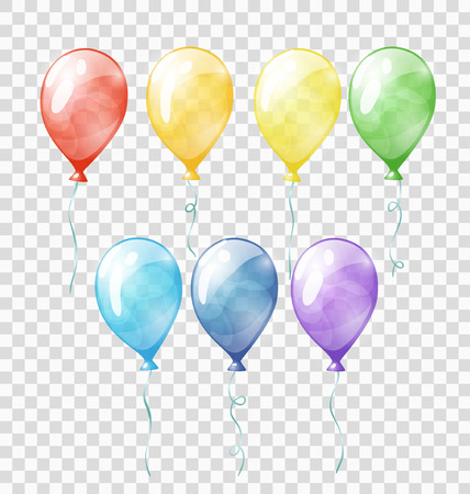 Illustration pour Set of colored transparent balloons on the chequered background - image libre de droit