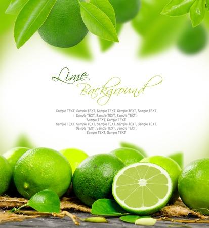 Foto de lemons with leaves and slice with white space for text - Imagen libre de derechos