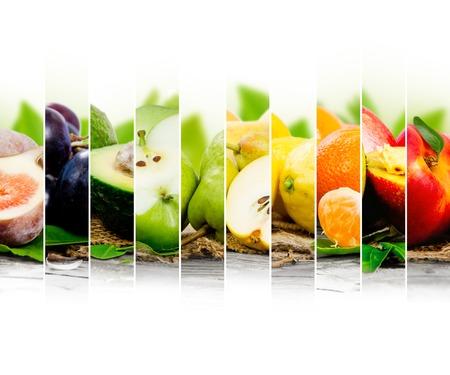 Foto de Photo of colorful fruit mix with white space for text - Imagen libre de derechos