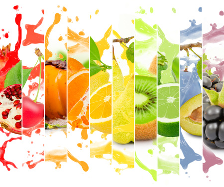 Photo for Rainbow colorful fruit stripe collection with splash on white background - Royalty Free Image
