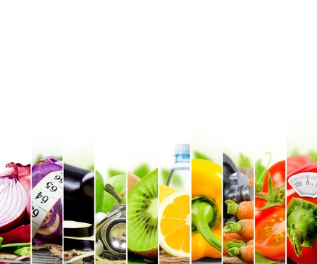 Photo pour Photo of colorful fruit and vegetable mix with measuring tape, stethoscope and scale meter; concept of fitness - image libre de droit