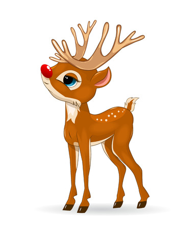 Illustration pour Little cartoon deer on a white background. Deer baby with a red nose. - image libre de droit