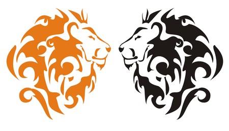 Tribal lion heads, vector