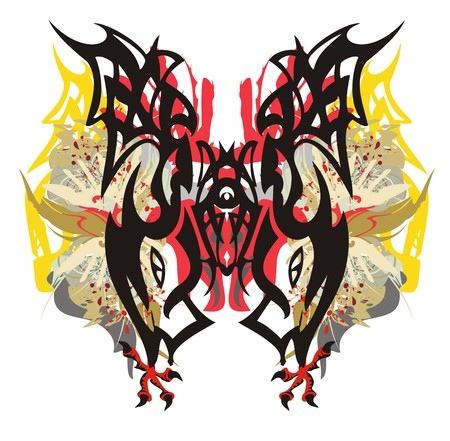 Tribal colorful fantastic tropical butterfly. Grunge mystic butterfly wings formed by decorative elements, eagle feathers and claws with blood drops