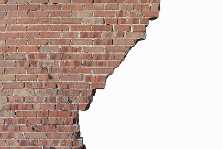 Photo pour Old broken red brick wall - image libre de droit
