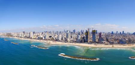 Foto de Tel Aviv Coastline, Over the mediterranean sea - Aerial image - Imagen libre de derechos