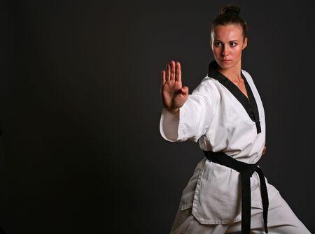 girl in white kimono ready to fight