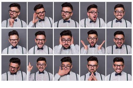 Photo pour Collage of young hipster man with different facial expressions. Set of handsome emotional man showing several expressions isolated on grey background. - image libre de droit