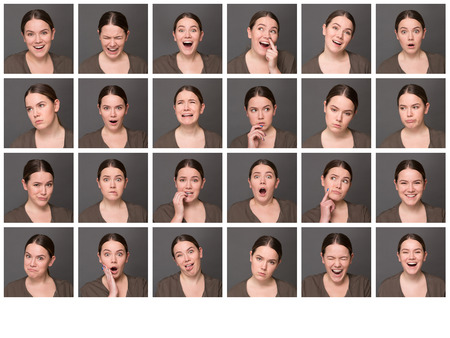 Chinese girl with different facial expressions. Set of different pictures of emotional woman isolated on grey background.