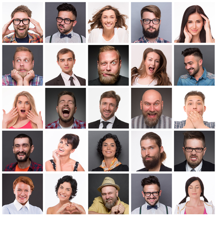 Diverse people with different emotions. Collage of diverse multi-ethnic and mixed age range people expressing different emotions.