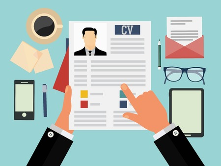 Illustration pour Job interview concept with business cv resume - image libre de droit