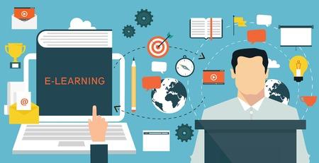Illustration pour Elearning online education concept - image libre de droit